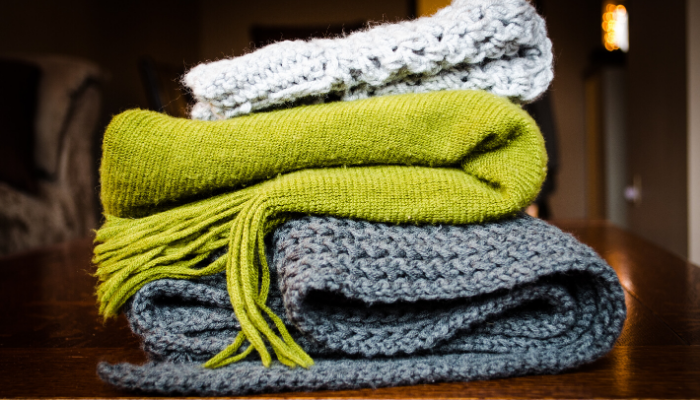 Blankets given as housewarming party gifts.
