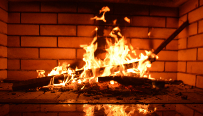 A fire used at a housewarming party.