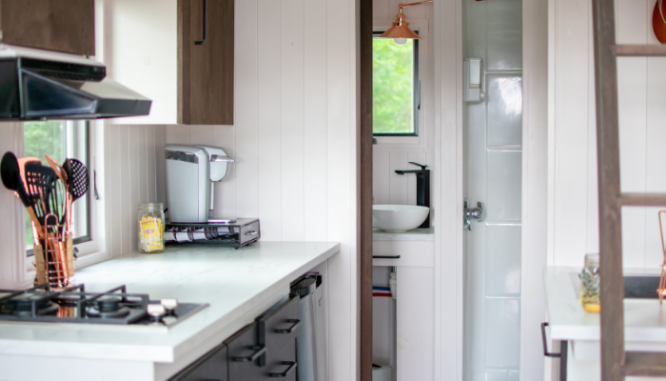A kitchen inside a tiny house you can build.