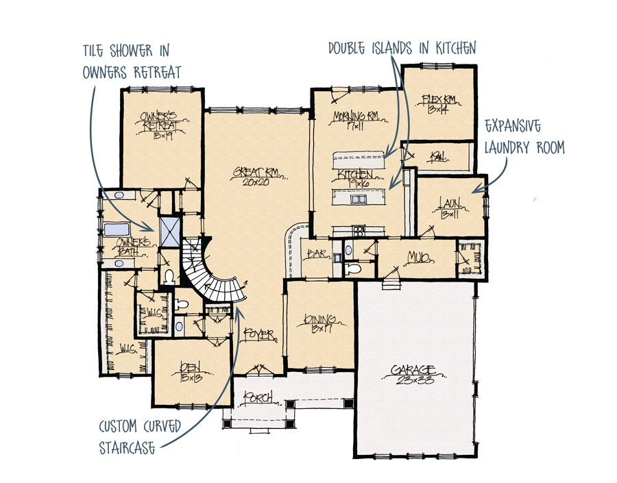 A diagram of a keeping room.