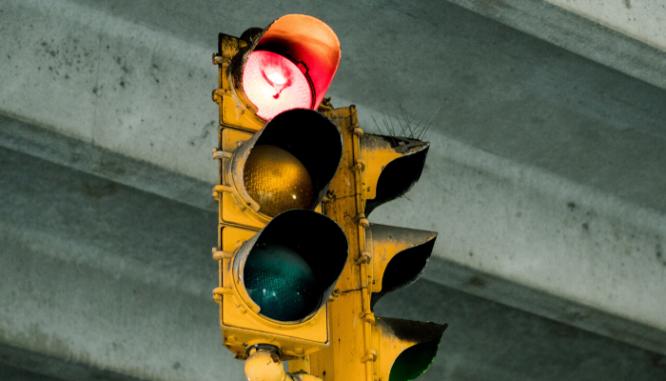 A red stoplight.