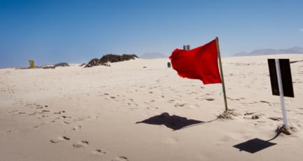 A red flag on a beach.