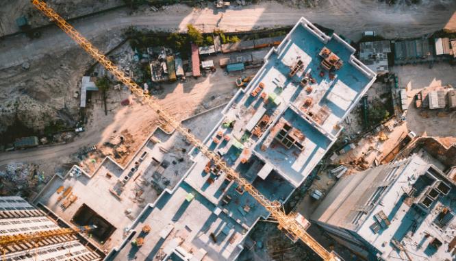 An aerial view of neighborhood development.