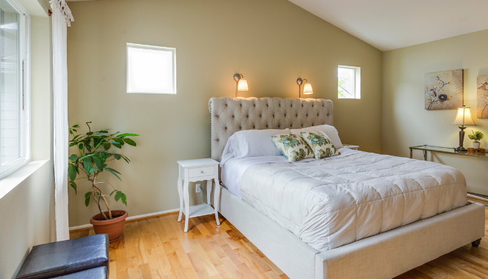 A bedroom in a house for sale.