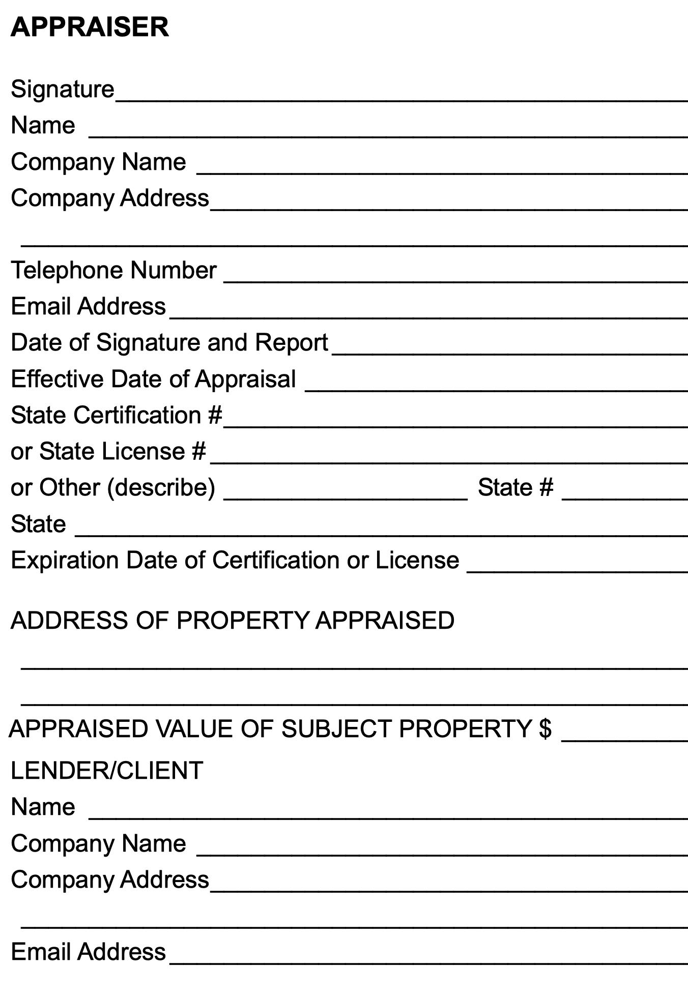 An appraisal report.