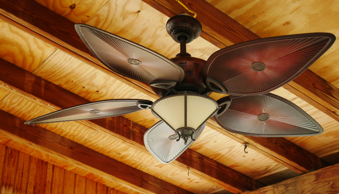 A ceiling fan that needs to be maintained in a home.