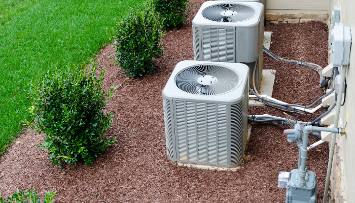 Outside air conditioning units that could be outdoor eyesores.