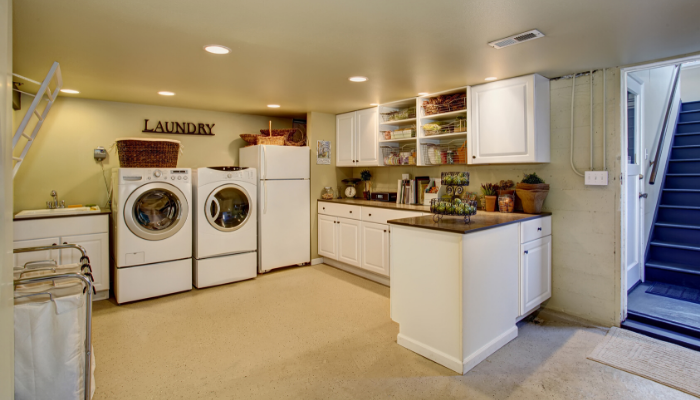 A laundry room that was remodeled.