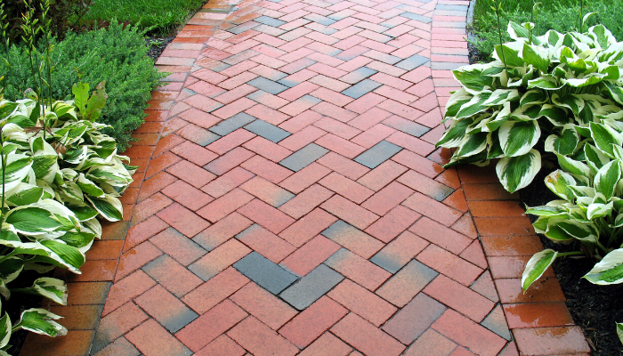 Add brick to a walkway for a curb appeal idea for brick homes