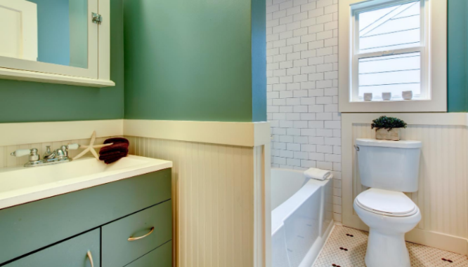 A 5x7 bathroom that has been remodeled.