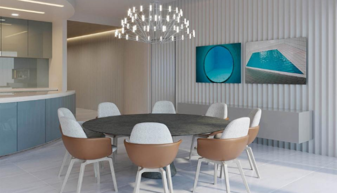 A dining room using 2020 home design trends.