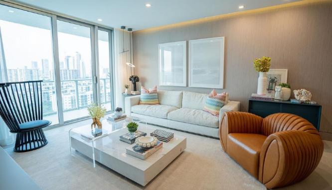 A living room using 2020 home design trends.