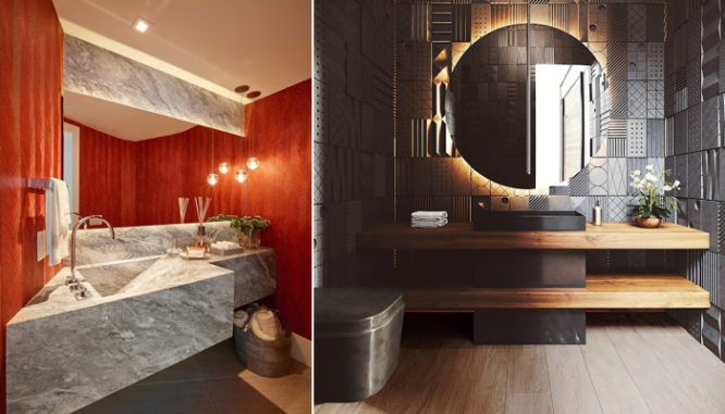 A powder room using 2020 home design trends.