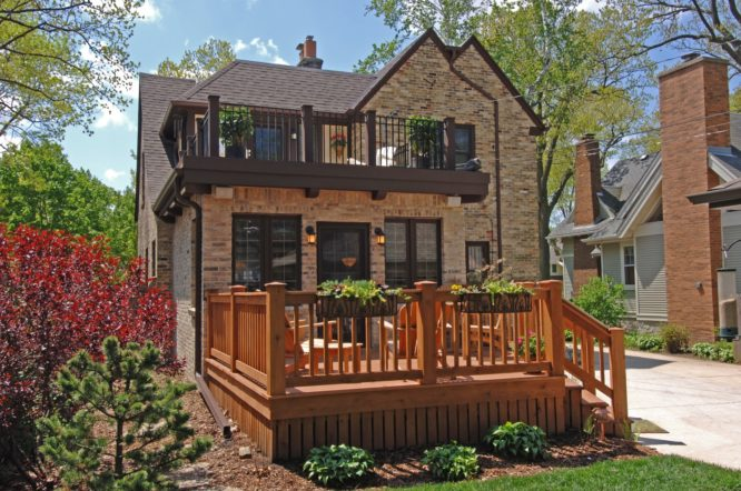 A deck that was added to a house.