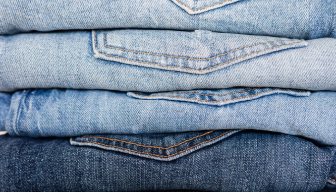 Jeans that will be packed for moving.