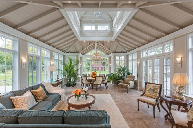 A sunroom that was added to a house.