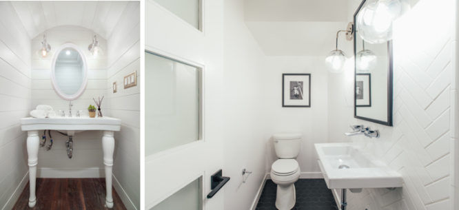 A powder room that is a room addition in a small home.