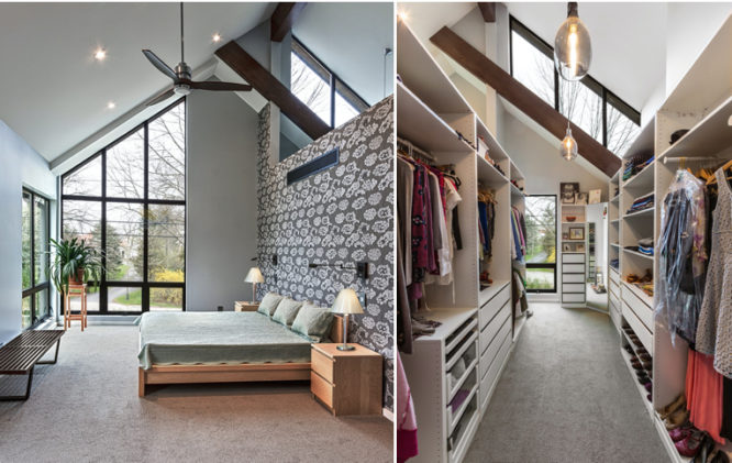 A bedroom that is a room addition.