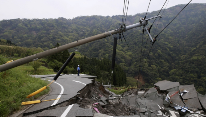 A power line knocked down during an earthquake.