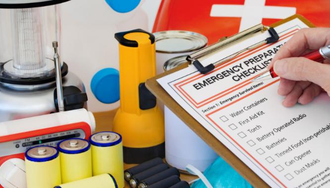 A survival kit prepared for an earthquake.